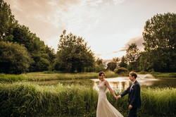 Bride and Groom with fountain