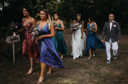 Bride arriving with Bridesmaids