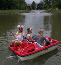 Bride to be on pedalo