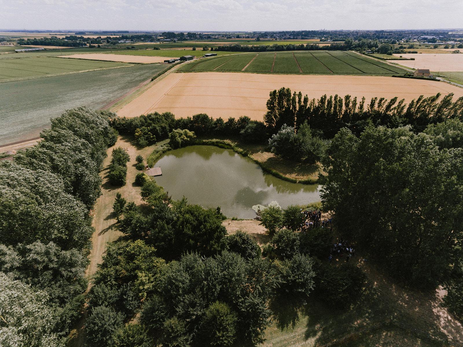Aerial view of wedding lake