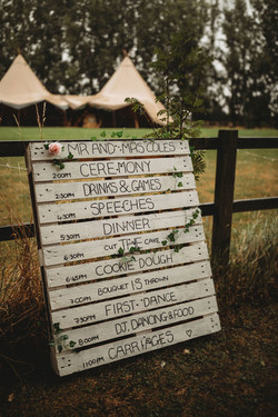 Wedding order of the day sign