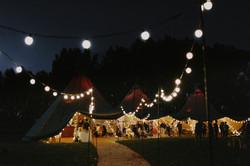 Wedding tipi at nighttime