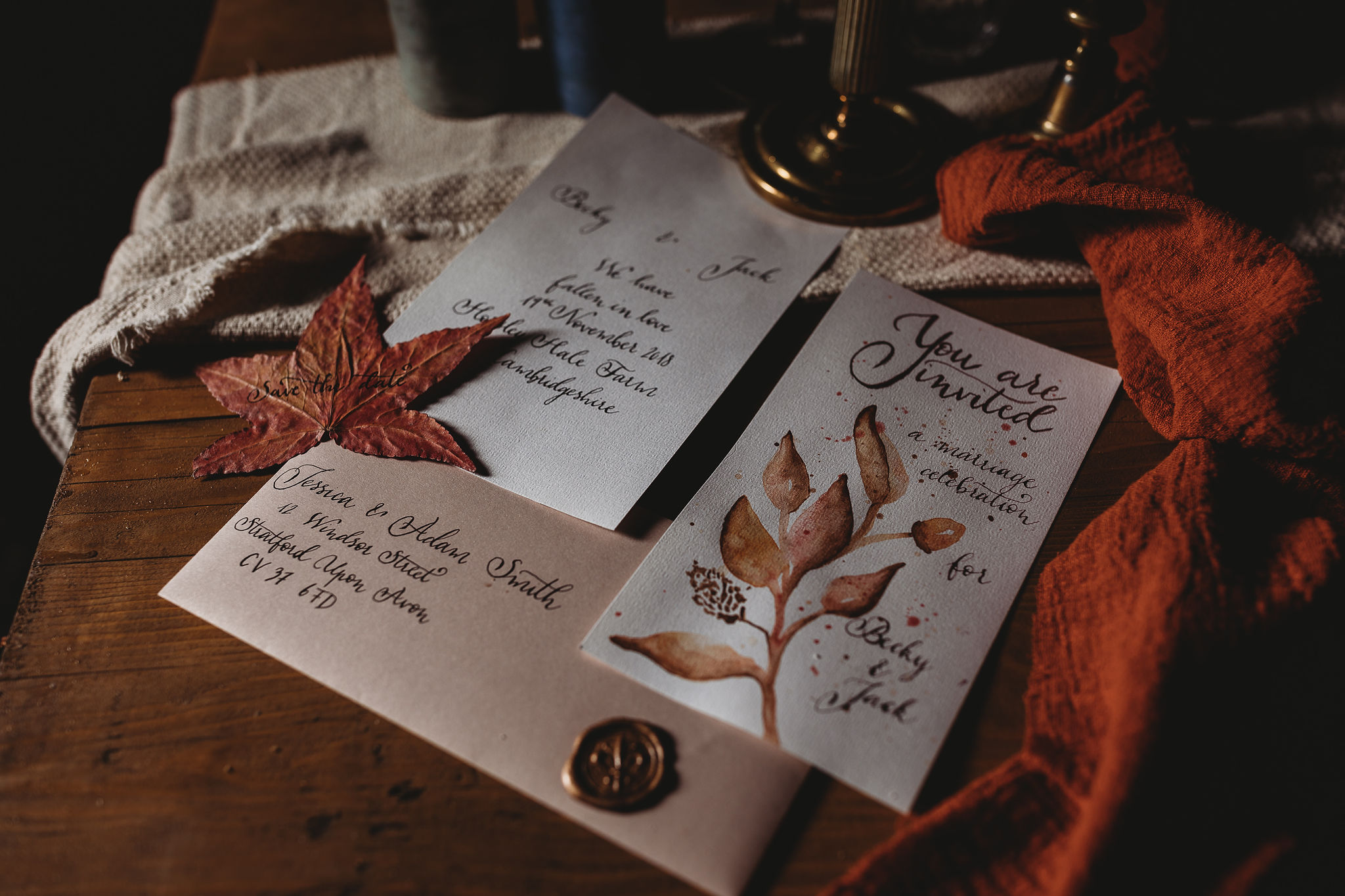 Autumnal wedding stationary