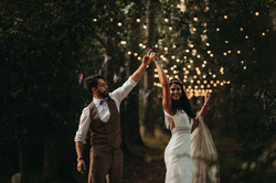 Bride and Groom with festival lights