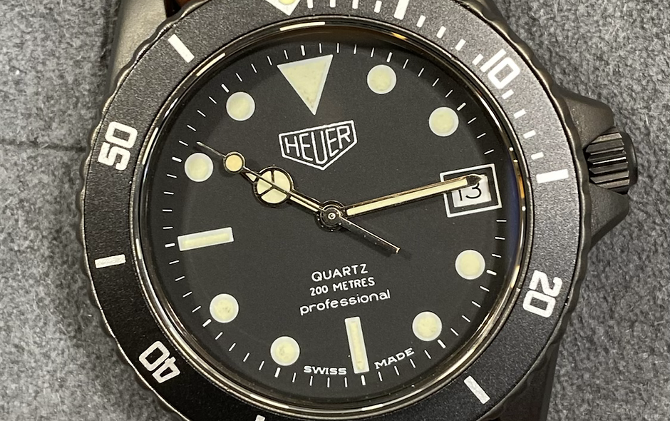 😎 TAG HEUER 1000 980.026 Black Dial Submariner James Bond Diver Style Watch