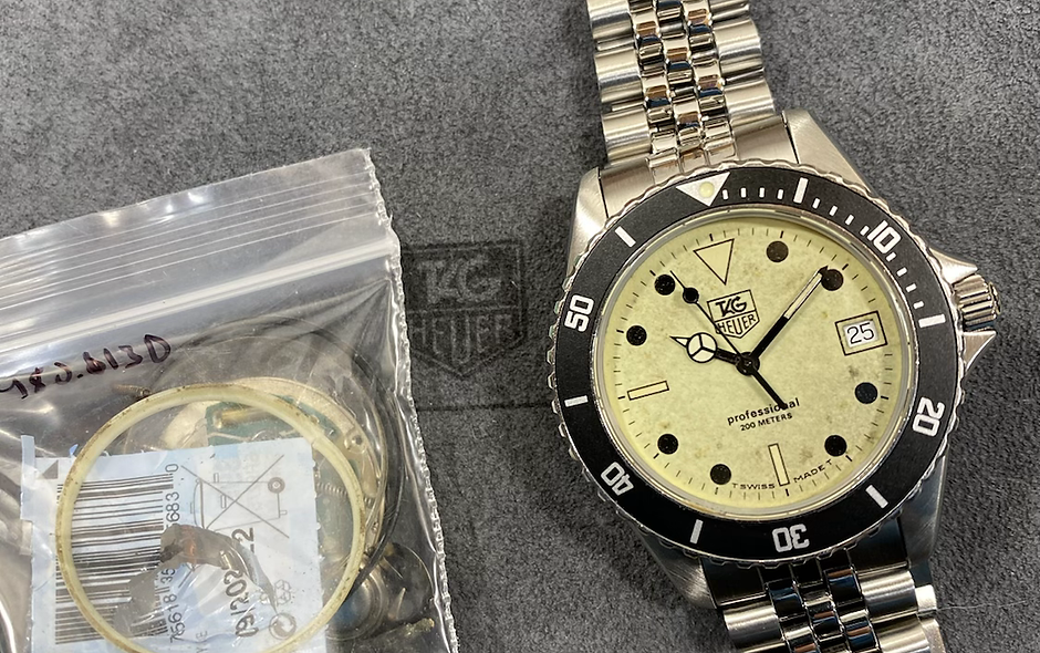 👍 Vintage TAG HEUER 1000 980.113 Lume Submariner Style Night Diver Watch