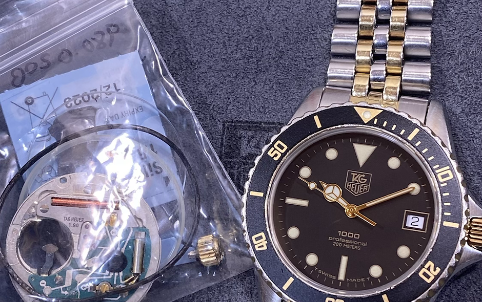 👍 Serviced TAG HEUER 1000 980.020 Two Tone Gold Submariner Style Dive Watch
