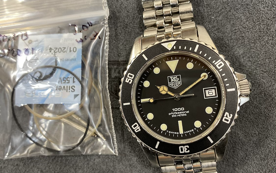 👍 Vintage TAG HEUER 1000 980.013 Black Submariner Style Dive Watch