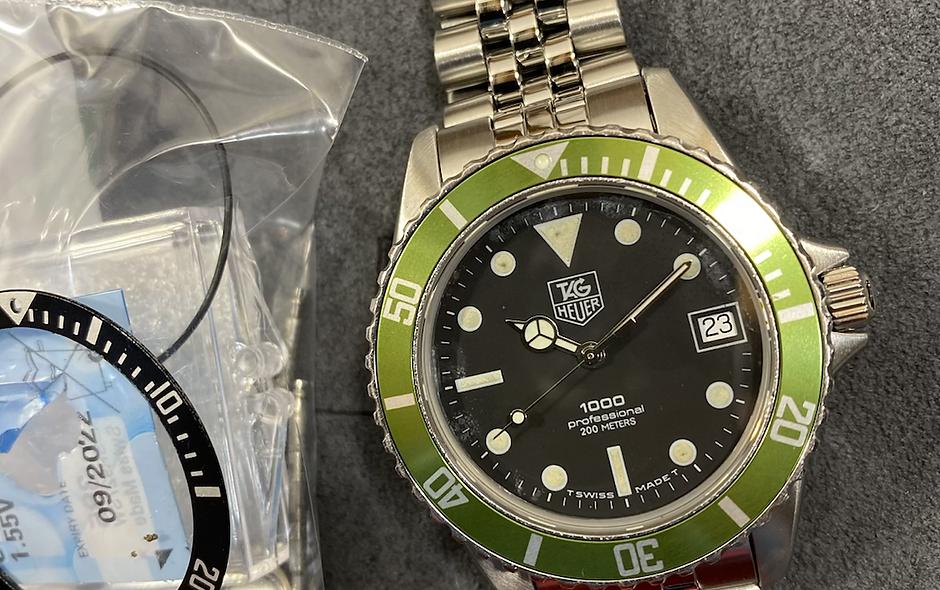 👍 TAG HEUER 1000 980.013 Black Hulk Kermit  16610LV Submariner Style Dive Watch