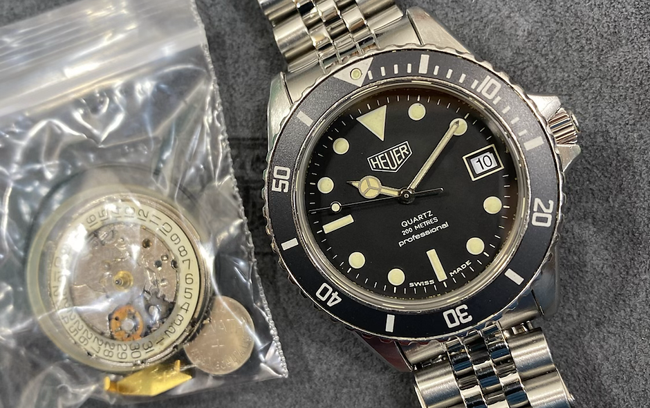 👍 Vintage Serviced TAG HEUER 1000 980.013 Black Submariner Style Dive Watch