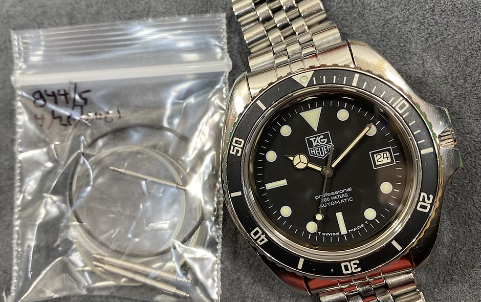 👍 Serviced Vintage TAG HEUER 844/5 Auto Jumbo Black Submariner 844 Dive Watch