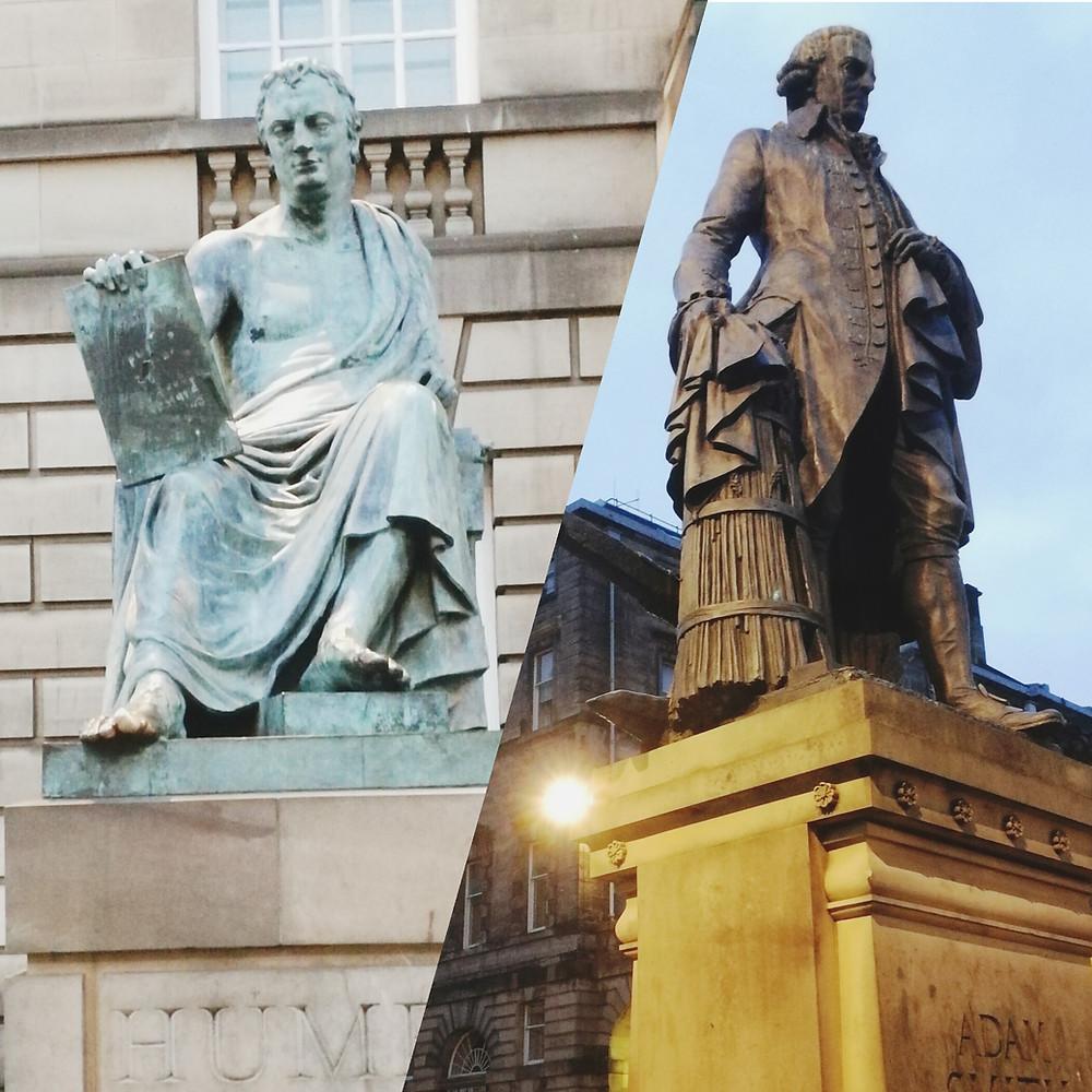 David Hume and Adam Smith's statues in Edinburgh
