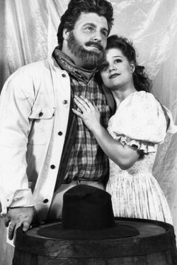 Actor Michael Walters as Ben Rumson in Paint Your Wagon, 1992, with Kelly Lake Coy as Jennifer