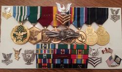 Grandfather Clock Shadow Box medals