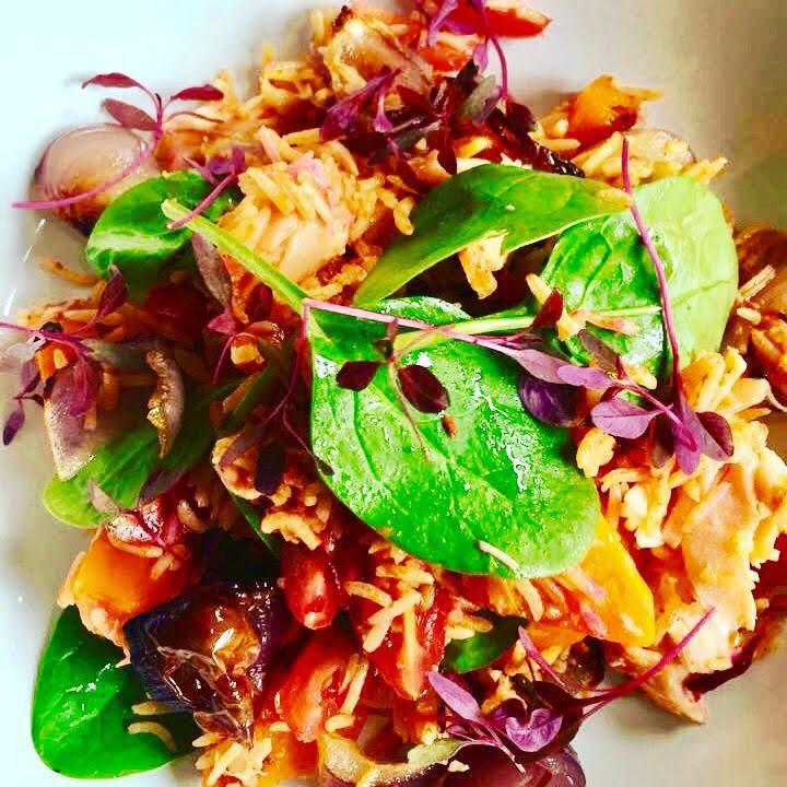 Jollof Rice with salmon, sweet potato an