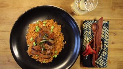 Jollof Rice and Suya steak