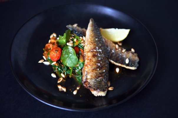 Mackerel with Spinach and Agushi