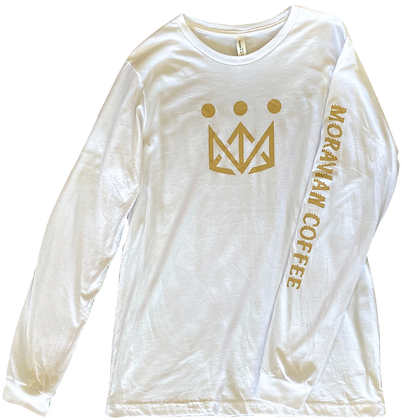 White Moravian Long Sleeve Crown Tee