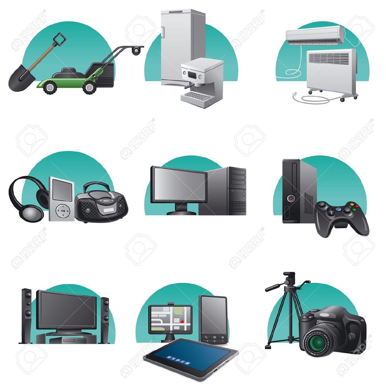 18004458-elettrodomestici-e-apparecchi-elettronici-set-di-icone-Archivio-Fotografico