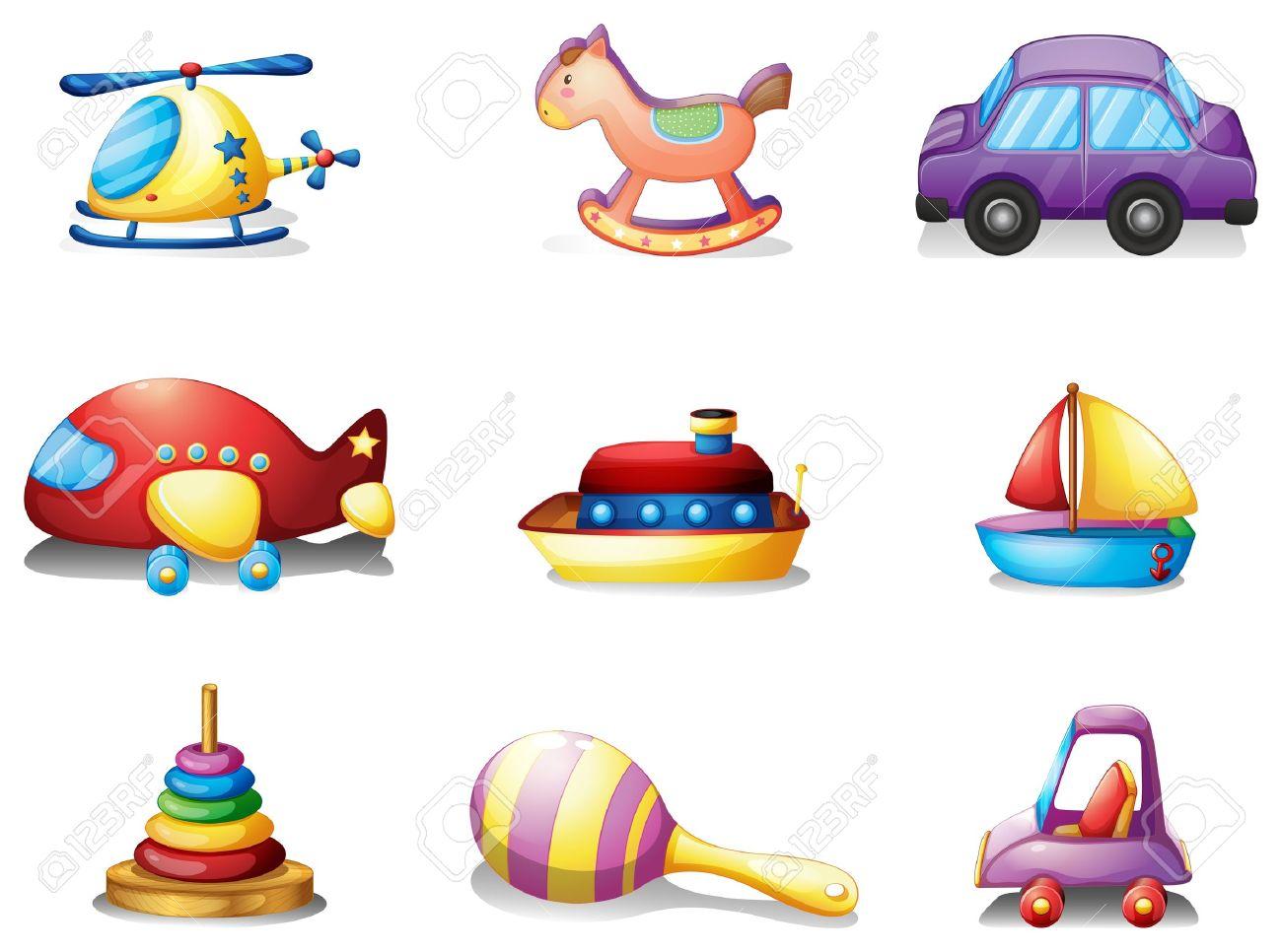 18610458-Illustrazione-dei-nove-diversi-tipi-di-giocattoli-su-uno-sfondo-bianco-Archivio-Fotografico