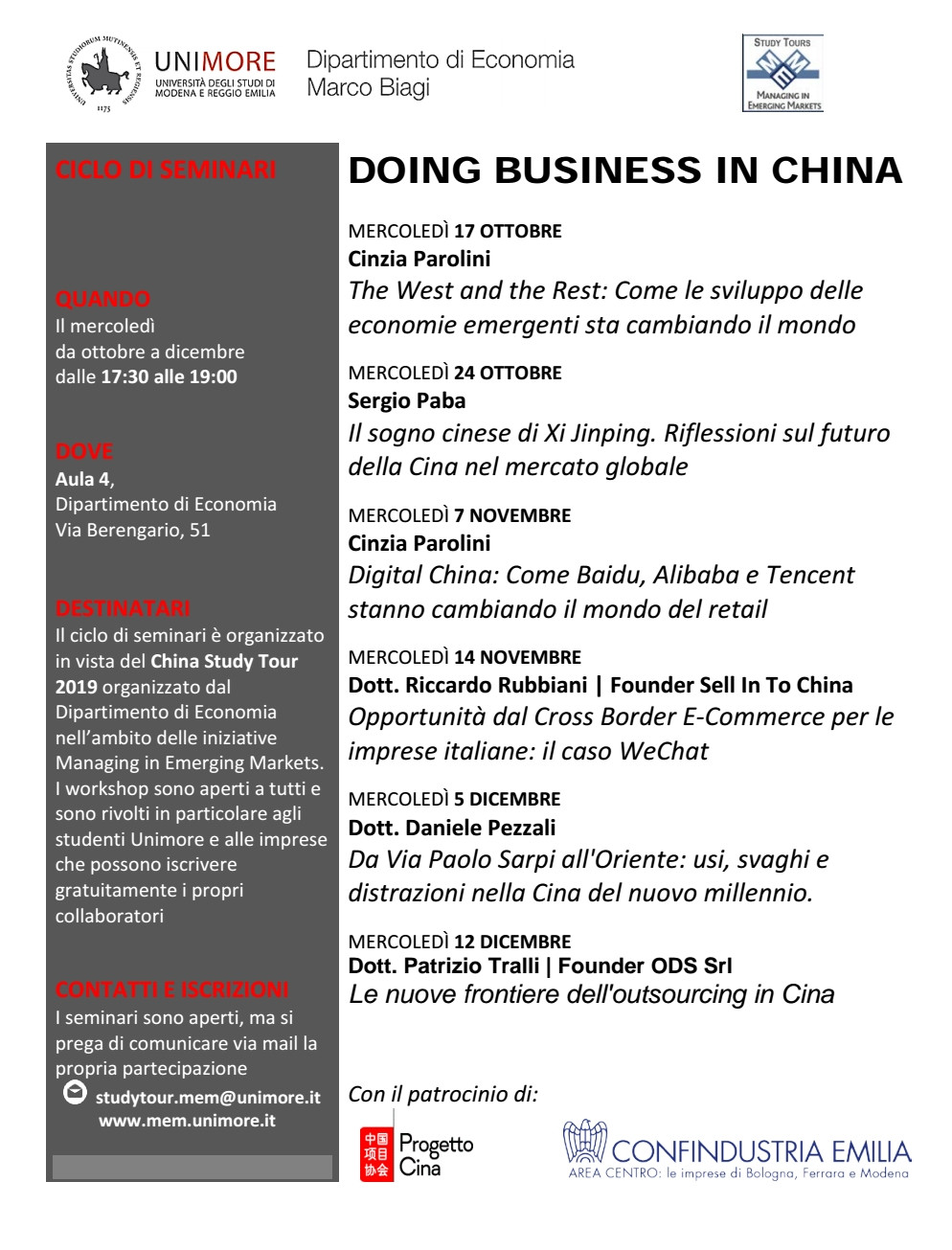 Programma Doing Business in China Modena