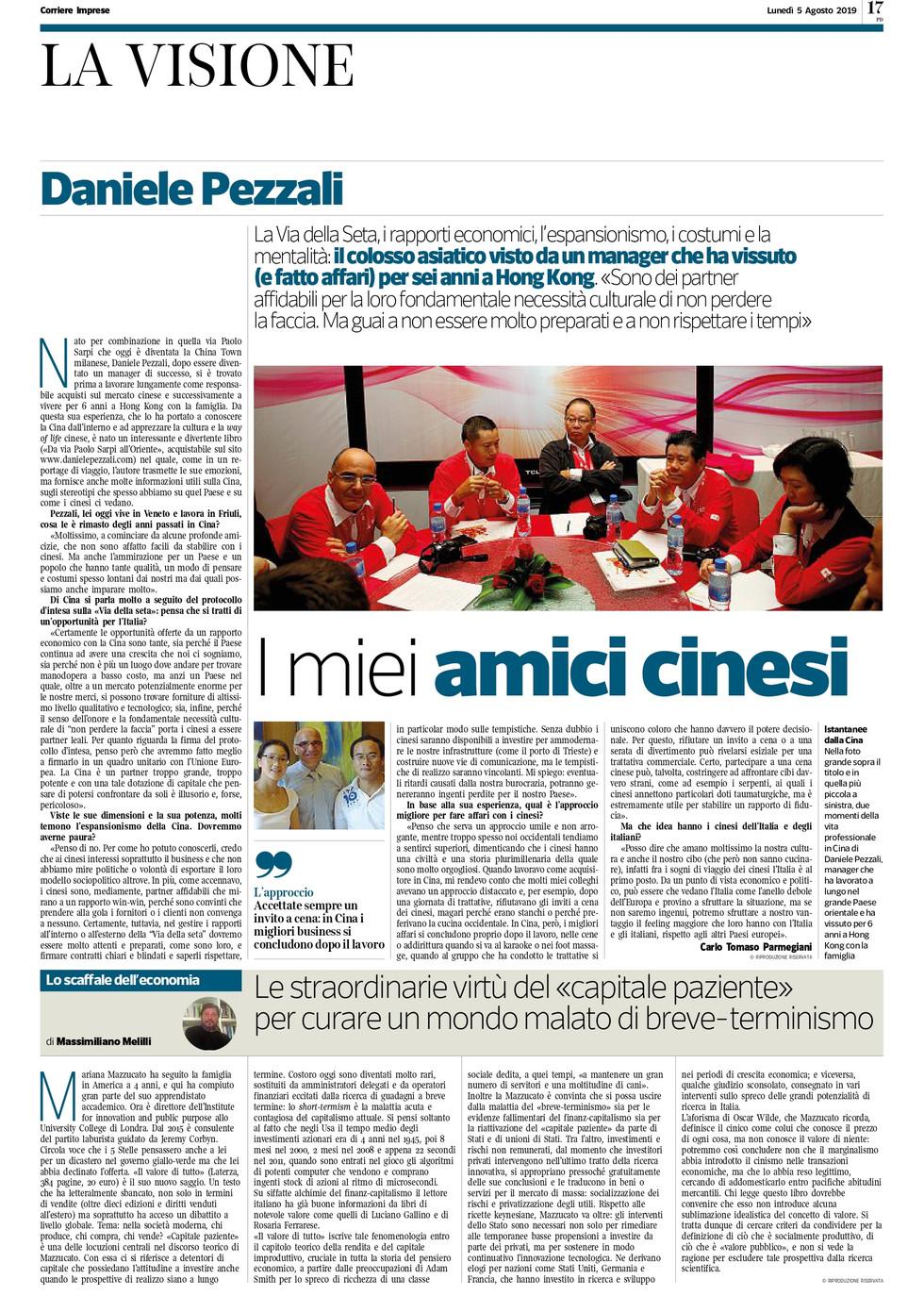 """CORRIERE IMPRESE NORD EST La Visione Daniele Pezzali """"I miei amici cinesi"""""""