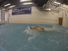 Testing swimming snorkel in Flume Channel in Prague on Faculty of Physical Education and Sports, Czech Republik