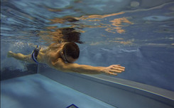 Test swimming in Flume Channel Endless Pool, Prague Czech republik