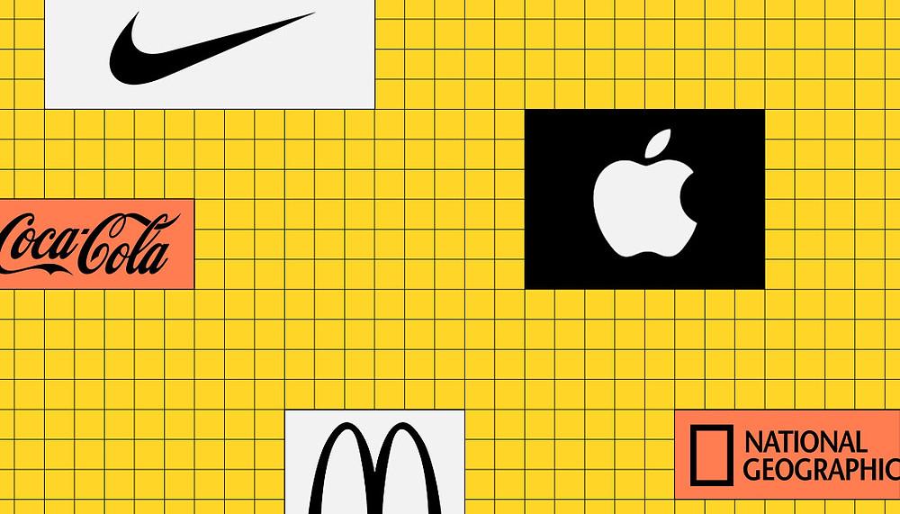 ナイキのロゴとアップルのロゴとマクドナルドのロゴ