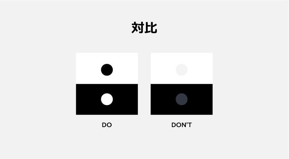 Webデザインの原則の対比