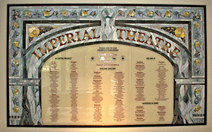 Finished Imperial Theatre Donor Wall by Sheryl Crowley, Fractured Art Mosaics 2019