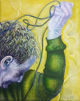 """Wired Study#3 acrylic 8"""" x 10"""" Sheryl Cr"""