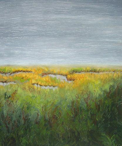 "Saltwater Marsh -Quiet  12""x10"" soft pastel on paper"