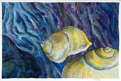 Snails Looming -11x17 acrylic finger painting on paper
