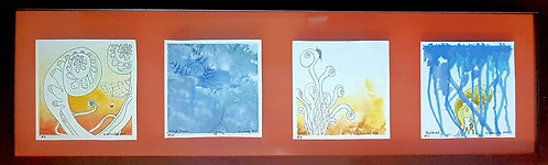 4 Framed Fiddleheads-Water colour & Ink in clear back frame