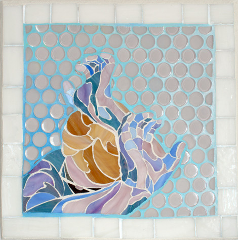 Fragility of Bubbles-StayBackFriend-stained glass mosaic-15 x 15 inches Sheryl Crowley 202