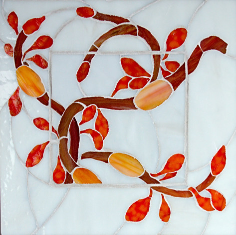 Seaweed#4- 11x11.25 inches stained glass