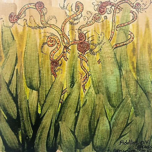 "Fiddlies On Grass  5""x5"" Water colour & Ink on card -Fiddlehead Fantasy"
