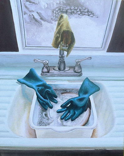 "Kitchen Sink Pieta 20""x16"" acrylic on board, framed"