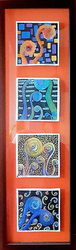 4 Framed Fiddleheads -Oil Pastel & acrylic  in clear back frame