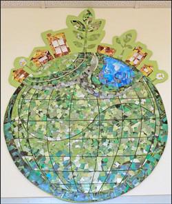 Cardboard mosaic Logo mounted SJECC summer 2011 (2)-min