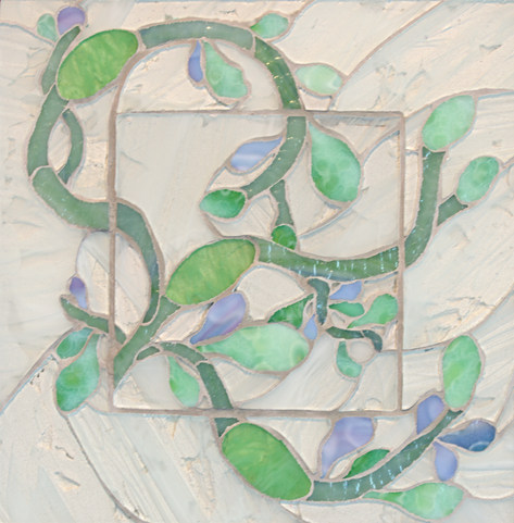 Seaweed#3- 11x11.25 inches stained glass