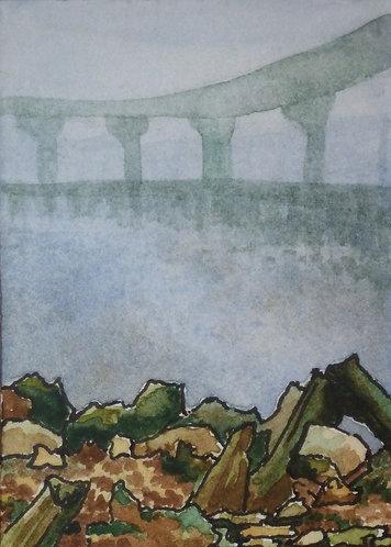 """Harbour Bridge 3""""x2"""" watercolour on card"""