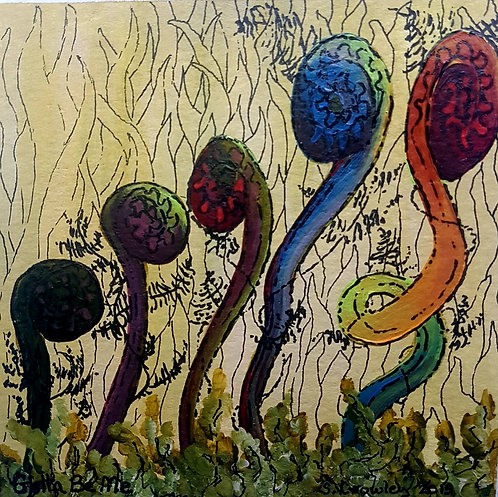 """Gotta Be Me!  5""""x5"""" Water colour & Ink on card -Fiddlehead Fantasy"""
