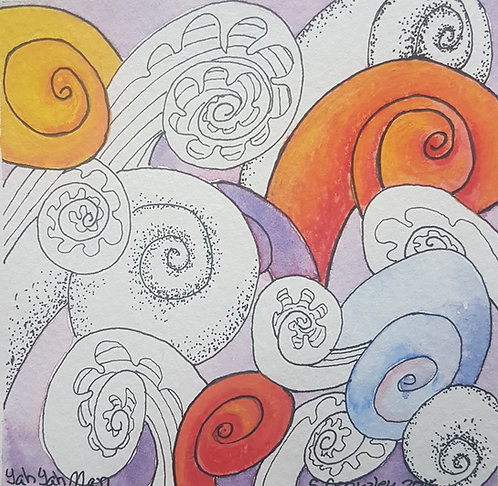 "Ya Ya Man!  5""x5"" Water colour & Ink on card -Fiddlehead Fantasy Collection"