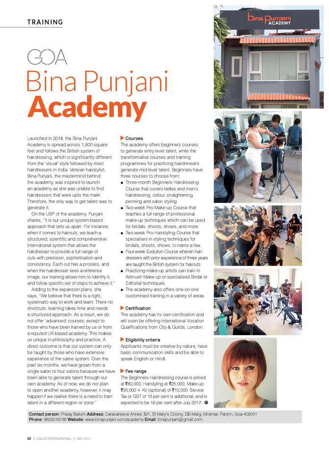 BINA PUNJANI ACADEMY features in SALON INTERNATIONAL, May 2017