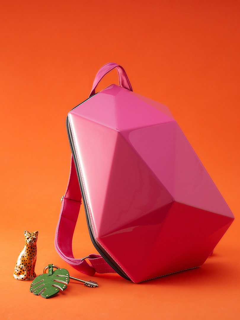 Pink Glossy Solid Backpack