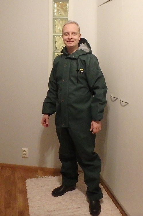 Green PROS Rain Coverall with reflectors, size M/52