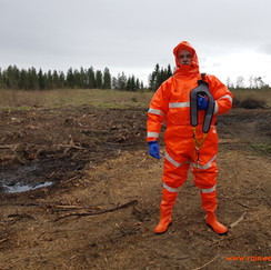 Orange Drainage Coverall with reflectors