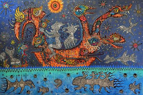 'Birdboat to Nacada' giclee print 52cm x 38cm